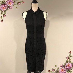 Button down black lace dress.